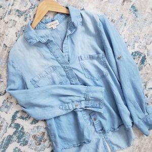 Cloth & Stone Split Back Chambray Shirt